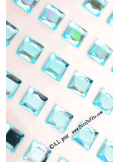 48 stickers strass carré turquoise