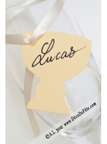 12 Etiquettes calice ivoire