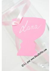 12 Etiquettes calice rose