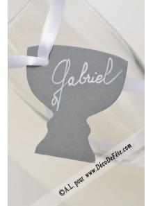 12 Etiquettes calice gris