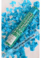 1 canon à confettis rectangle turquoise 30cm