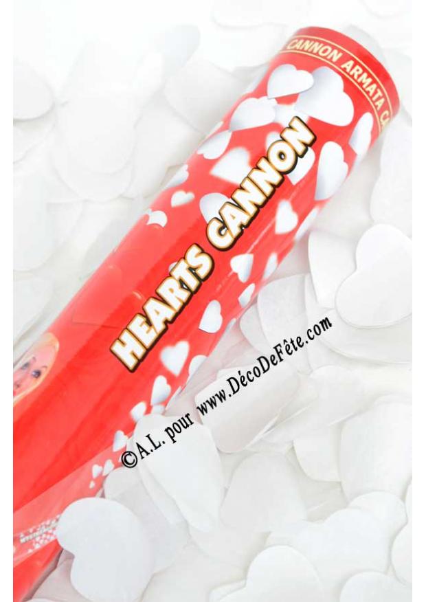 1 canon confettis coeur blanc 40cm - Canon A Confetti Mariage