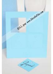 12 Etiquettes carrée bleu ciel