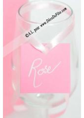 12 Etiquettes carrée rose