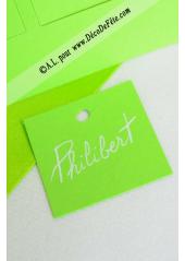 12 Etiquettes carrée vert anis