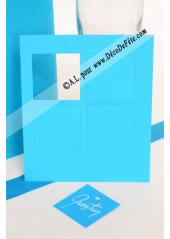 12 Etiquettes carrée turquoise