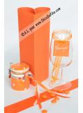 12 Etiquettes carrée orange