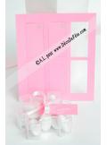 12 Etiquettes rectangle rose