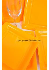 12 Assiettes à dessert plastique carré orange