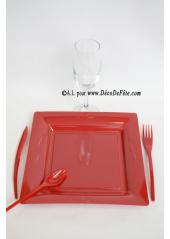 12 Assiettes bordeaux carré 24 cm