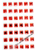 48 stickers strass carré rouge