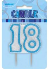 Bougie anniversaire chiffre 18 bleu