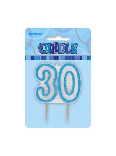 1 Bougie anniversaire chiffre 30 bleu