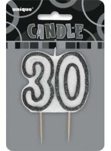 1 Bougie anniversaire chiffre 30 noir