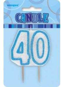Bougie chiffre 40 bleu