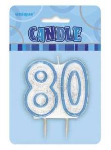 Bougie chiffre 80 bleu