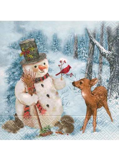 20 Serviettes bonhomme de neige