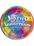 8 Assiettes joyeux anniversaire
