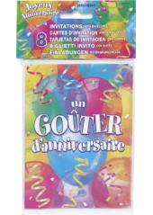 8 cartes d'invitation & enveloppes joyeux anniversaire