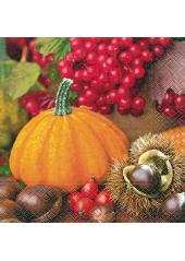20 Serviettes décor d'automne