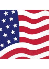 16 Serviettes drapeau américain