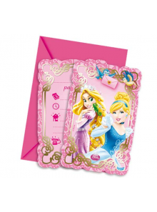 6 cartes d'invitation & enveloppes princesses