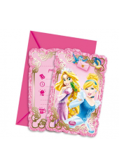 6 cartes d'invitation & enveloppes princesses