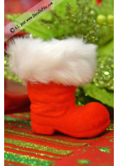 1 mini botte de père Noel velours rouge