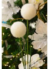 1 branche de 2 pompons blanc