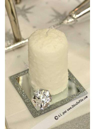 1 Bougie cylindre 10 cm Neige blanc