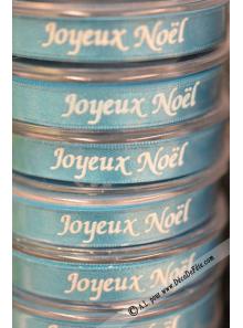 10m Ruban 10mm satin JOYEUX NOEL turquoise