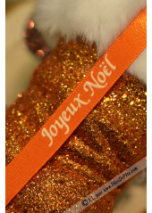 10m Ruban 10mm satin JOYEUX NOEL orange
