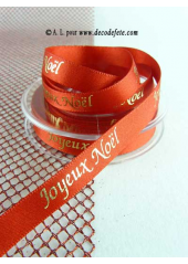 10m Ruban 10mm satin JOYEUX NOEL rouge/or
