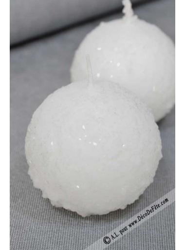 1 Bougie boule 8 cm Neige blanc