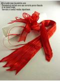 5 mini noeud organdi rouge