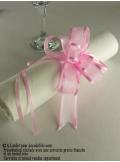 5 mini noeud organdi rose