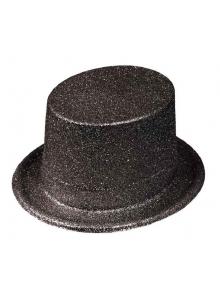 1 Chapeau Haut de forme Noir Paillettes