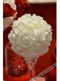 1 boule de roses BLANC