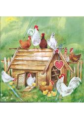20 Serviettes petites poules