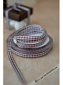 10m Ruban 6mm vichy chocolat