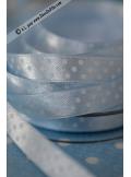 10m Ruban 9,5mm pois bleu ciel