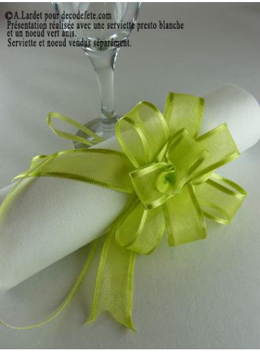 5 mini noeud organdi vert anis