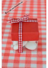 10 petits cubes transparent et rouge
