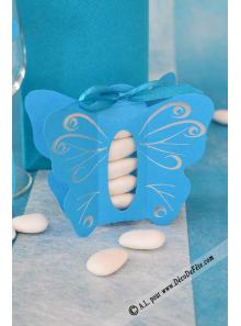 6 Papillons turquoise Habit d'Argent
