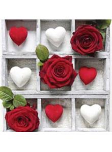 20 Serviettes Coeur & Rose