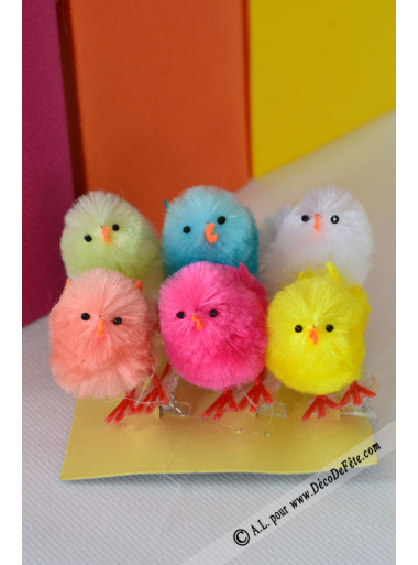 6 poussins colorés