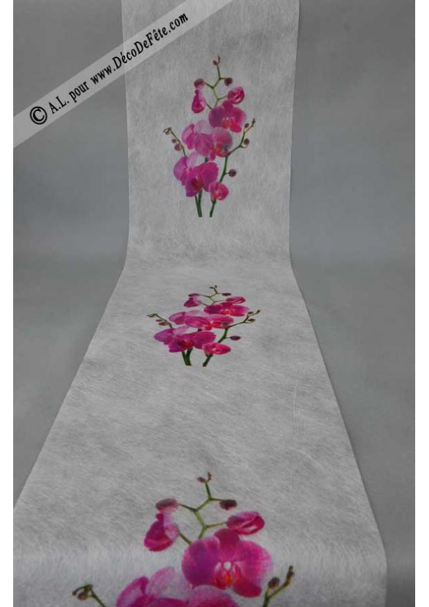 5m chemin de table orchidee fushia - Chemin de table fushia ...