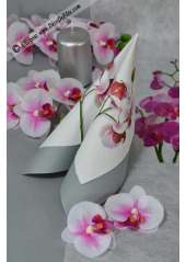 20 Serviettes Branche d'Orchidée