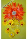 6 Stickers Marguerites Jaune & Coccinelle