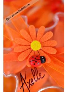6 Stickers Marguerites Orange & Coccinelle